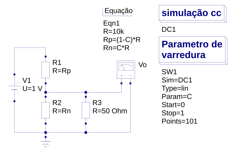 Esquema elétrico da simulação